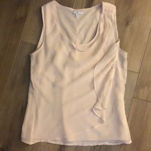 Gap light peach ruffle detail chiffon tank size s
